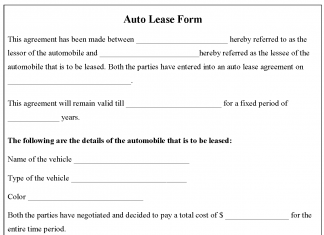 Auto Lease Form