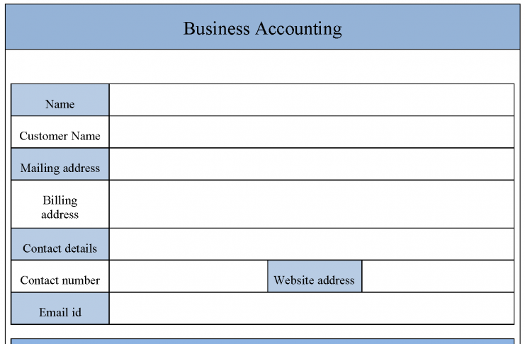 Business Accounting Form
