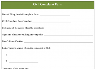 Civil Complaint Form