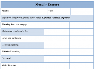 Monthly Expense Form