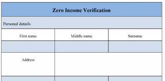 Zero Income Verification Form