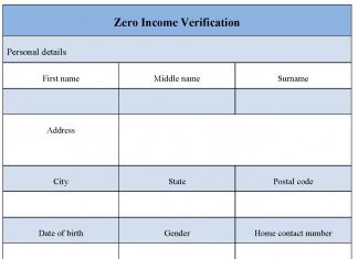Zero Income Verification Form