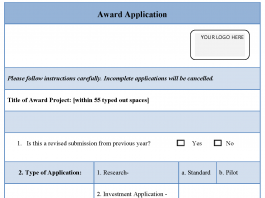 Award Application Template