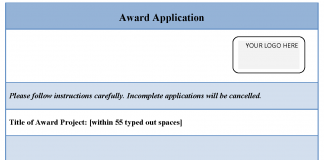 Award Application Template