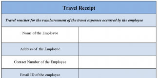 Travel Receipt Form