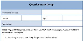 Questionnaire Design Template