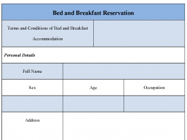 Bed and Breakfast Reservation Form