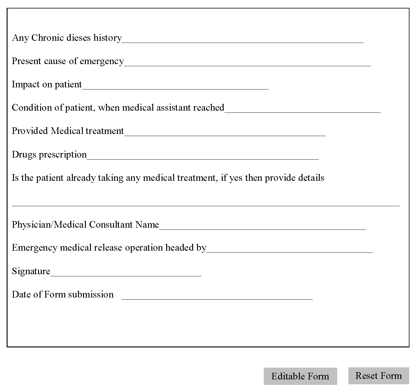 Emergency Medical Release Form