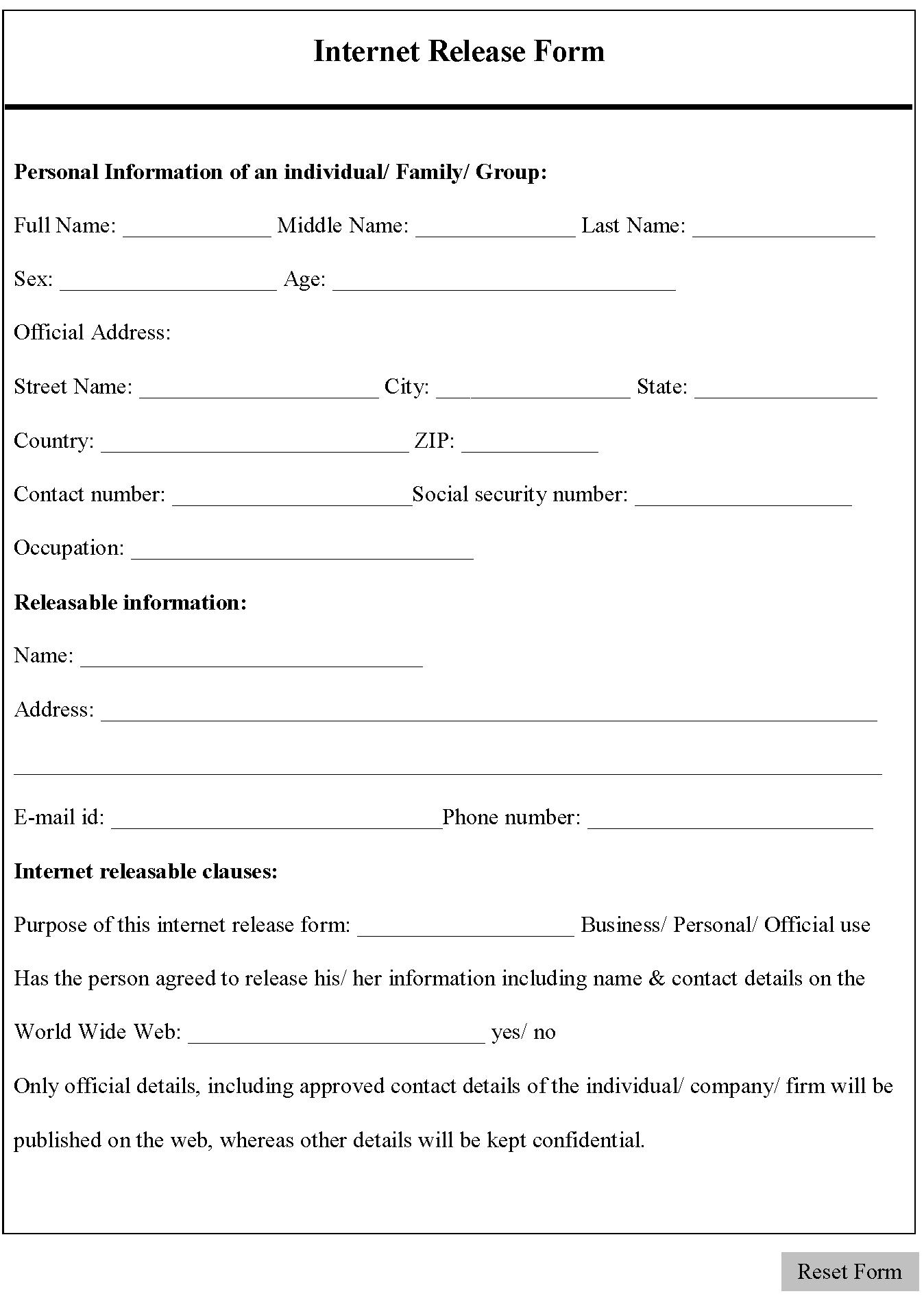 Internet Release Form