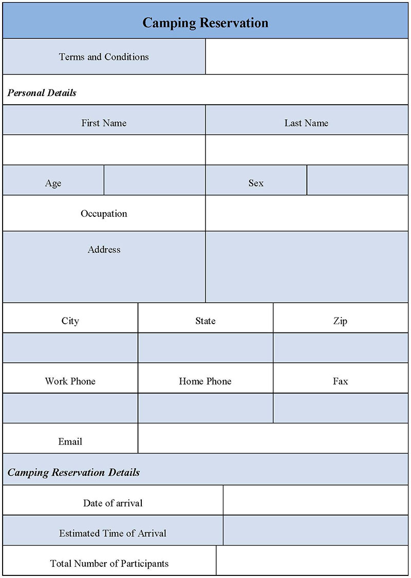 Camping Reservation Form