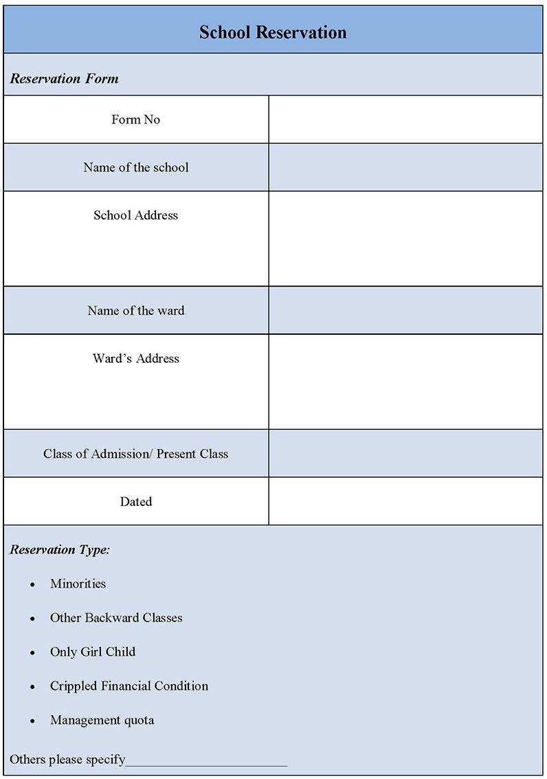 School Reservation Form