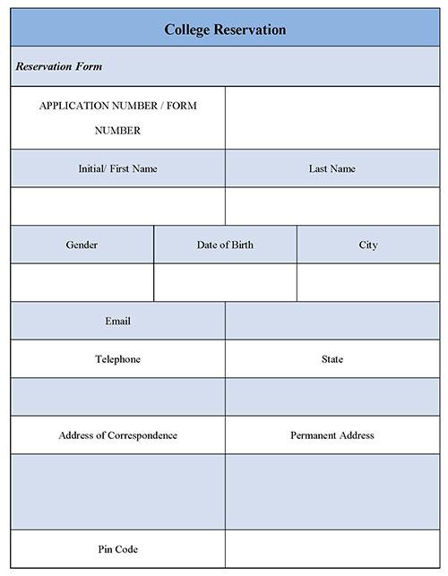 College Reservation Form