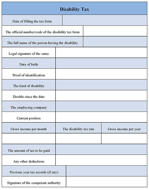 Disability Tax Form