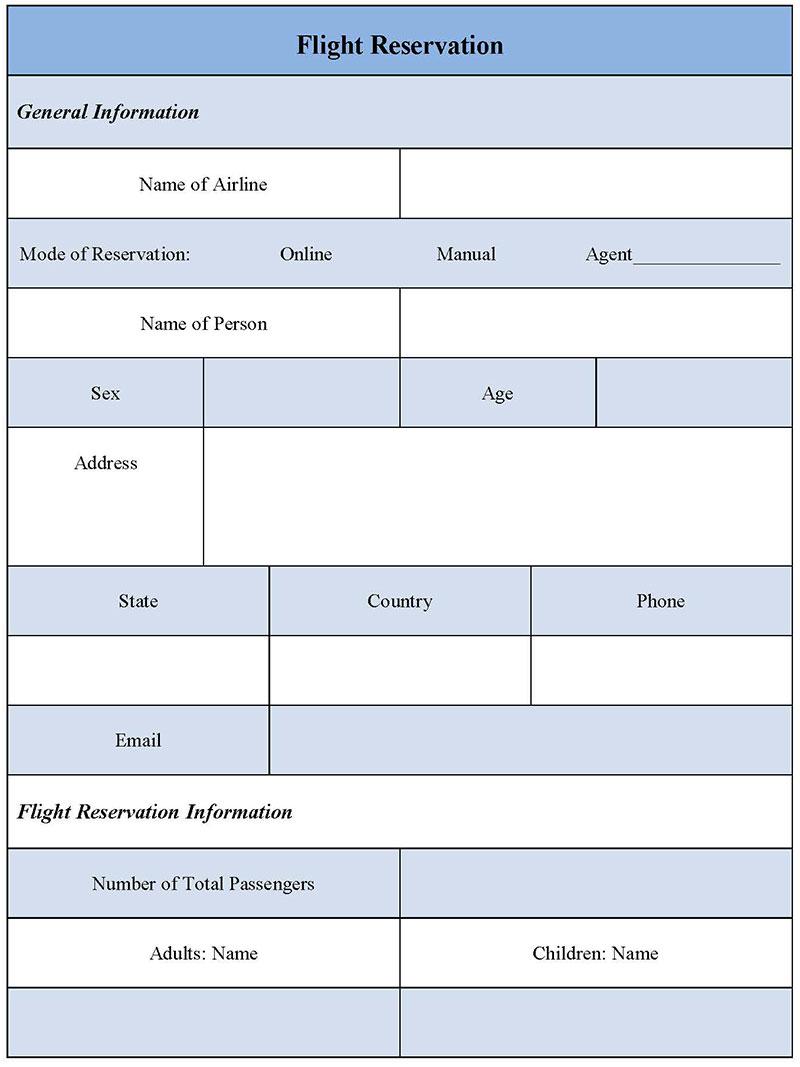 Flight Reservation Form 1
