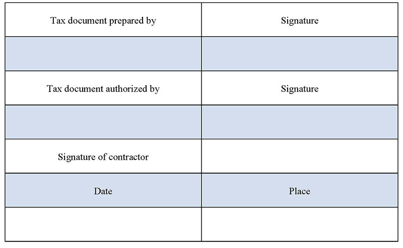 Independent Contractor Tax Form