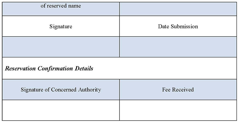 Name Reservation Form