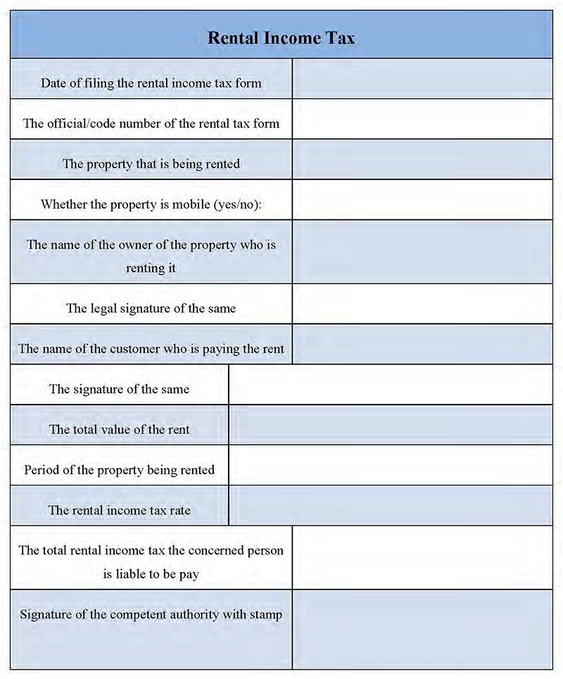 Rental Income Tax Form