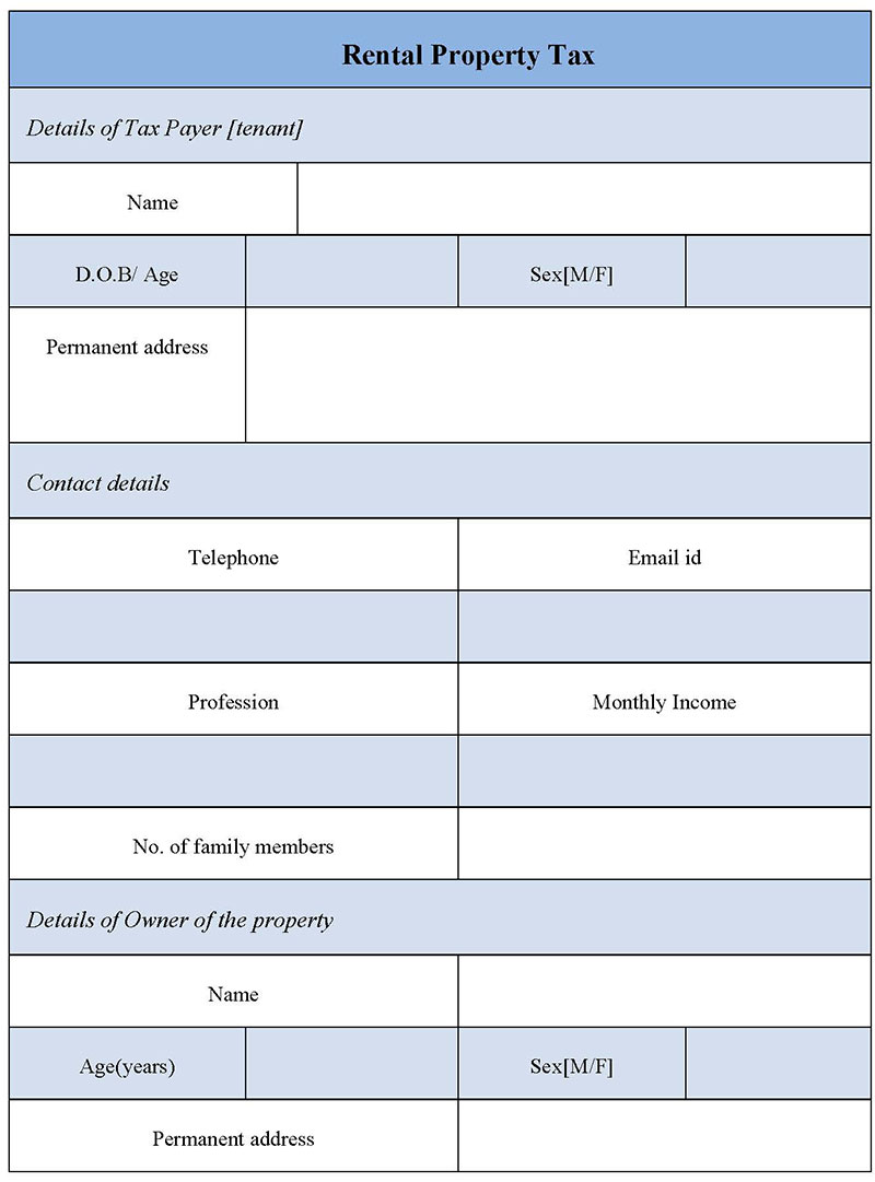 Rental Property Tax Form