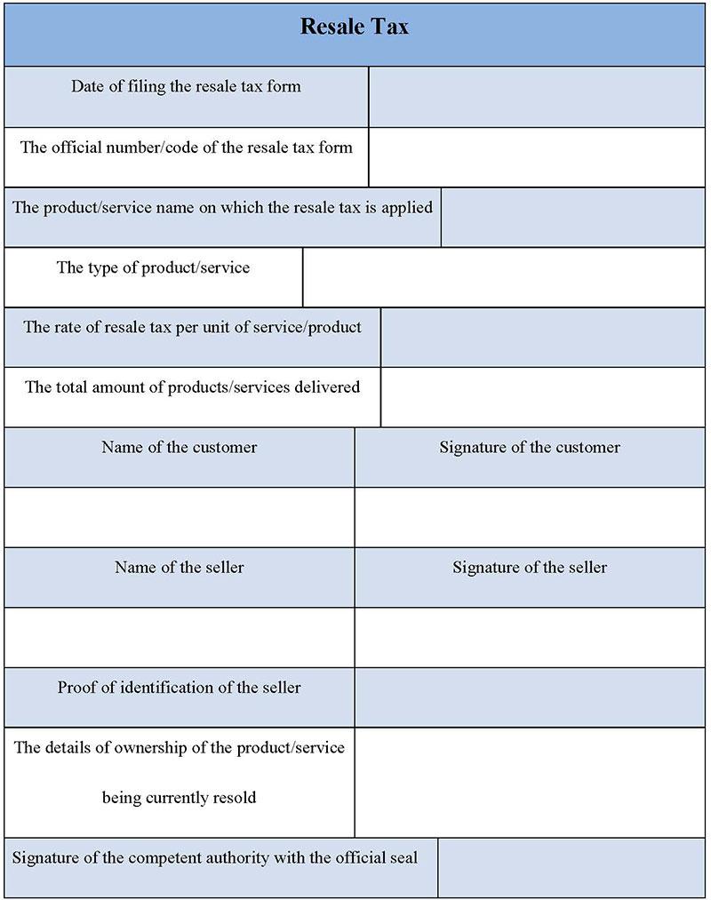 Resale Tax Form
