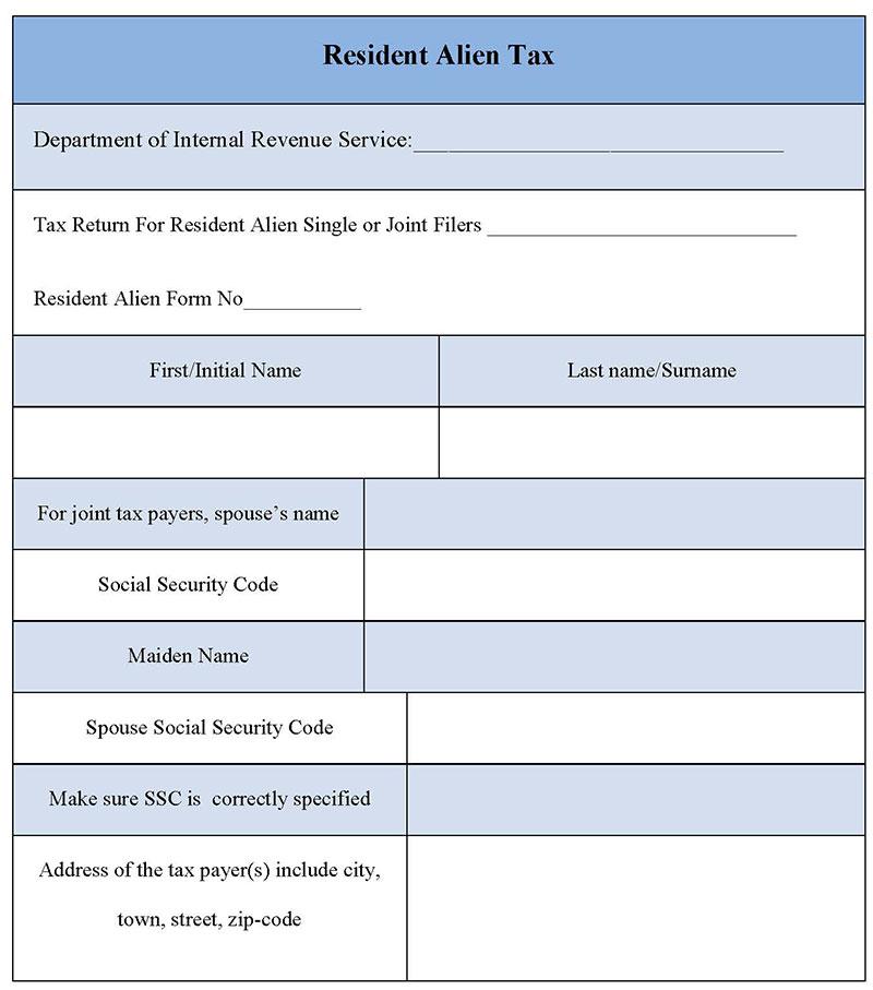 Resident Alien Tax Form