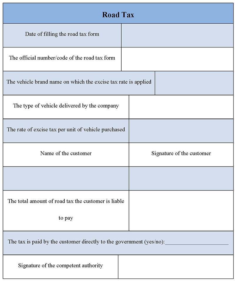 Road Tax Form