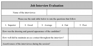 job interview form sample