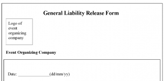 Delightful Tag: General Liability Release Form Example
