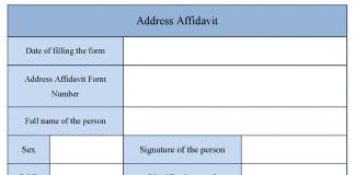 Address Affidavit Form  Address Affidavit Form