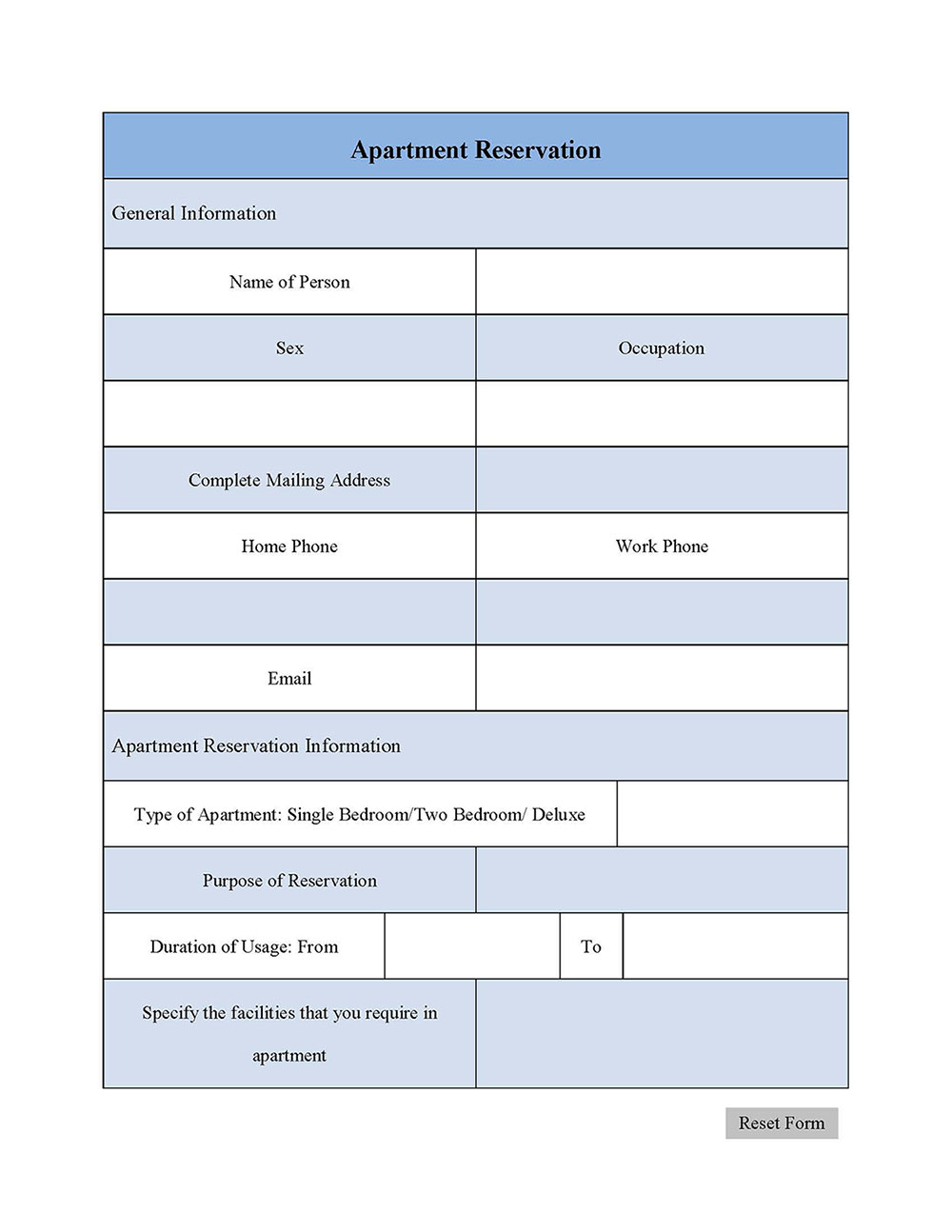 Apartment Reservation Form