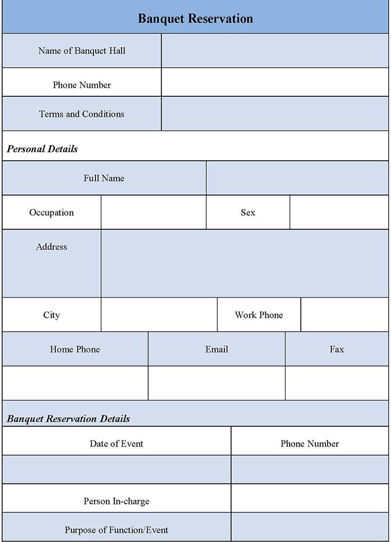 Banquet Reservation Form